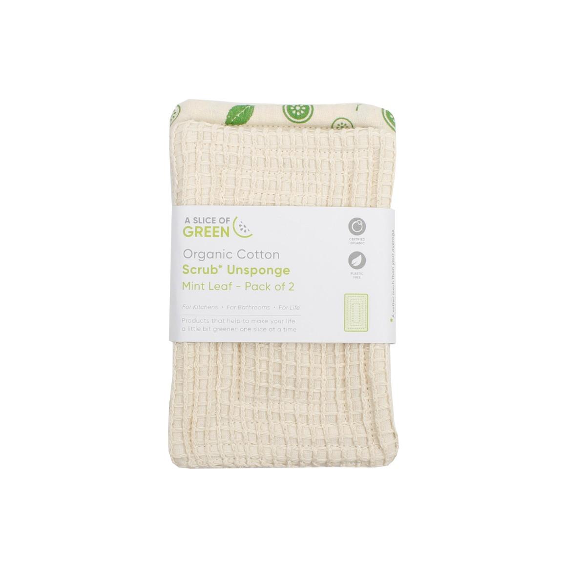 A Slice of Green - Organic Cotton Scrub 'Unsponge' - Mint Leaf 2 Pack