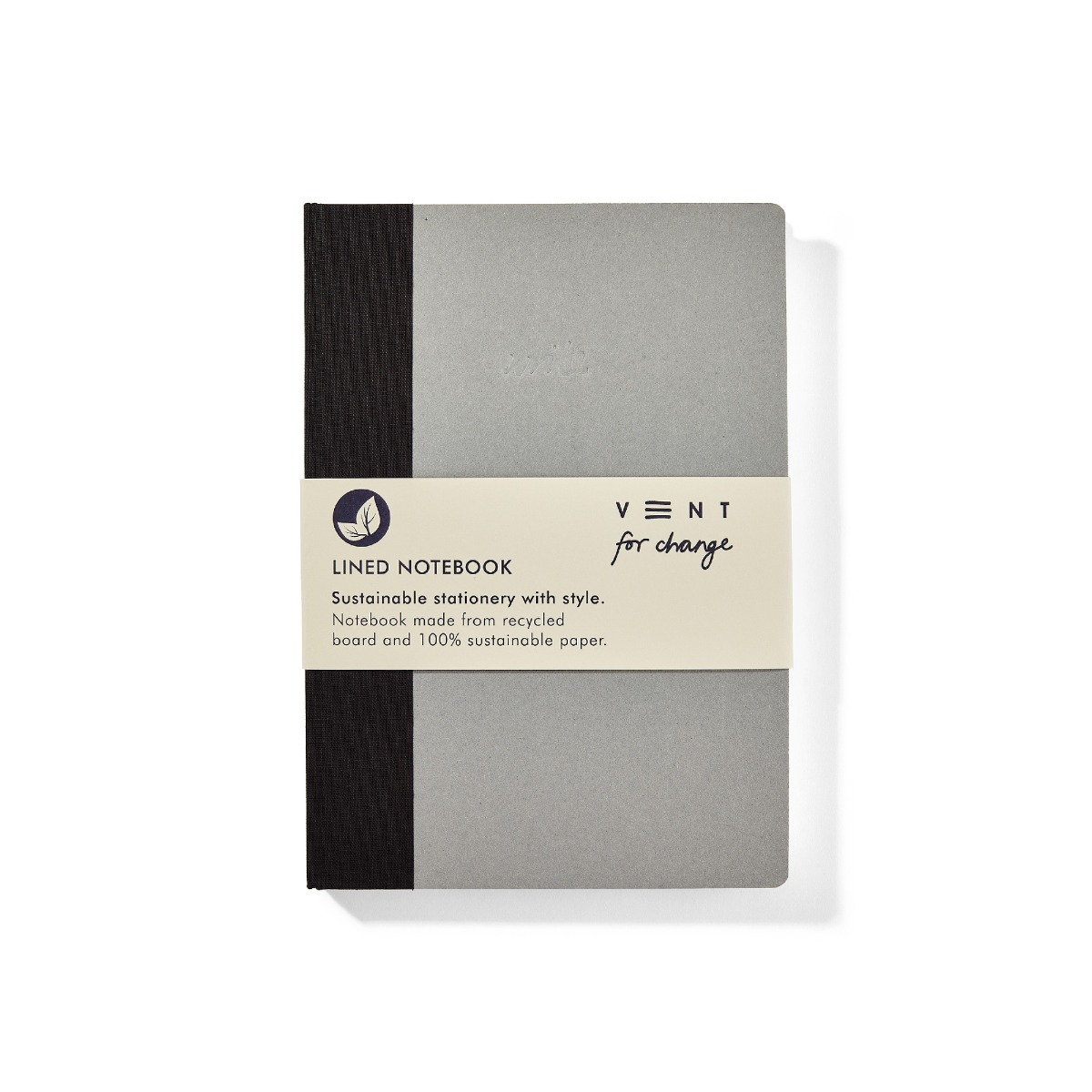 VENT: Sustainable Notebook A5 Write Range Black (Lined Paper)