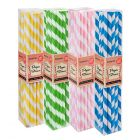 Pastel Party Stripe Paper Straws Pack (100 Straws)
