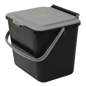 Black & Silver Small 5 Litre Plastic Food Bin/Caddy - Side View