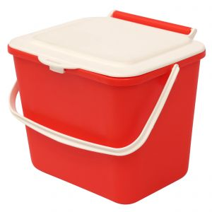 Red & Cream Small 5 Litre Plastic Food Bin/Caddy - Side View