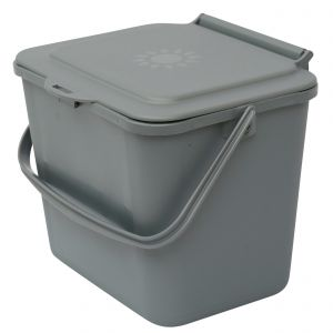 Silver Small 5 Litre Plastic Food Bin/Caddy - Side View
