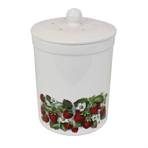 Ashmore Ceramic Compost Caddy - Strawberry