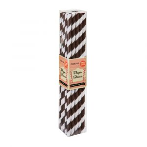 Chocolate Brown Stripe Paper Straws (25 Straws)