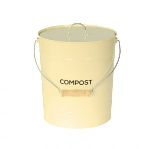 Large 10L Cream Metal Compost Pail