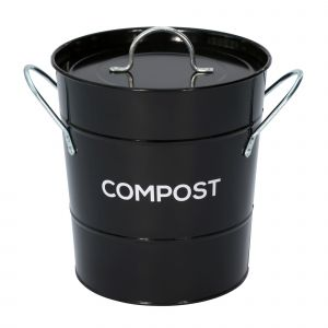Black Metal Compost Pail