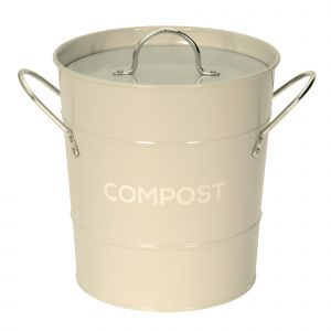 Light Grey Metal Compost Pail