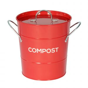 Red Metal Compost Pail