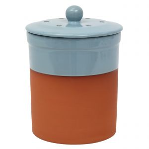 Chetnole Terracotta Ceramic Compost Caddy / Food Waste Bin - 3L - Pale Blue - Main Image
