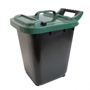 Large Kerbside Compost Caddy with Locking Lid - 23L - Black with Green Lid