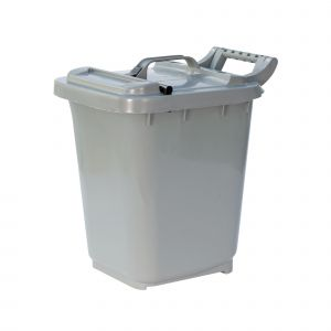 Large Kerbside Compost Caddy with Locking Lid - 23L - Silver Grey