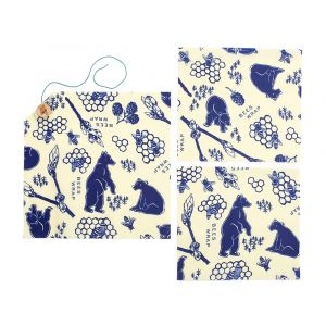 Bee's Wrap – Set of 3 Wraps – Bees & Bears Lunch Pack