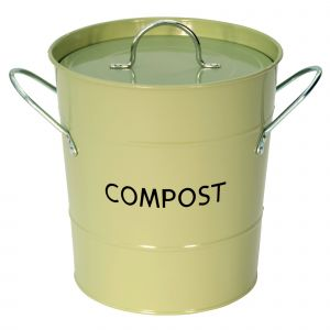 Sage Green Metal Compost Pail