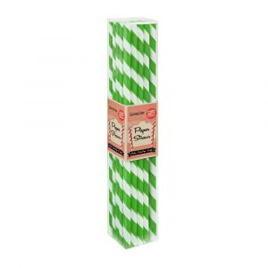 Lime Green Stripe Paper Straws (25 Straws)