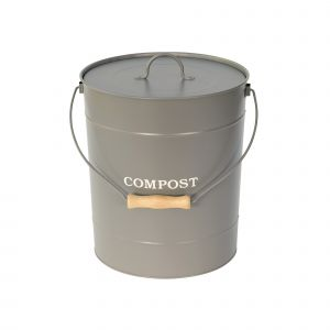 Large 10L Charcoal Grey Metal Compost Pail