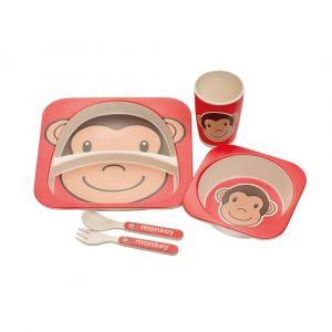 Eco Bamboo 5PC Kids Set - Monkey