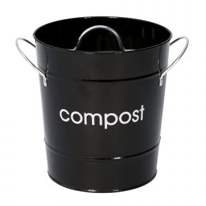 Metal Compost Pail - Black