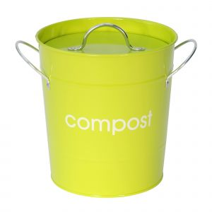 Metal Compost Pail - Lime Green