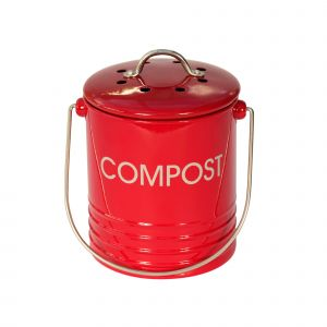 Mini Red Metal Compost Caddy