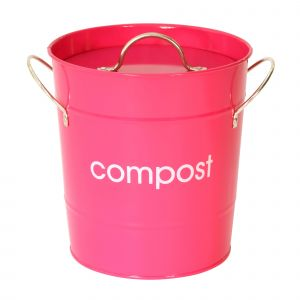 Metal Compost Pail - Hot Pink