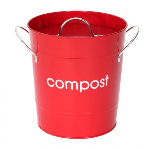 Metal Compost Pail - Red
