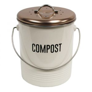 Vintage Kitchen Compost Caddy - Copper & White