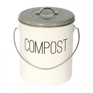Vintage Mayfair Kitchen Compost Caddy - Grey & White