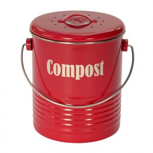 Vintage Kitchen Compost Caddy - Red