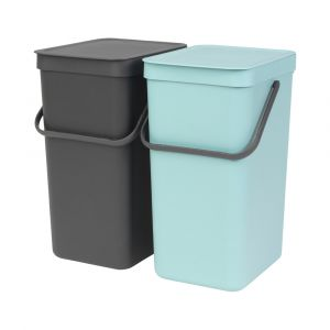 Brabantia Sort & Go Kitchen Recycling Bins Set – 16 Litre – Mint & Grey