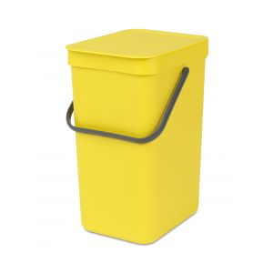 Brabantia Sort & Go Kitchen Recycling Bin - Yellow - 12L Size