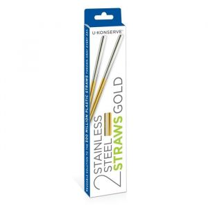 2 Reusable Stainless Steel Straw Pack in Gold - Box