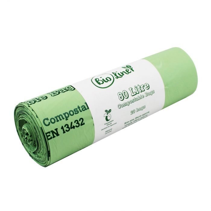 4 rolls 80 x 80L BioLiner Compostable Bags for Swing Bins /& Dustbins