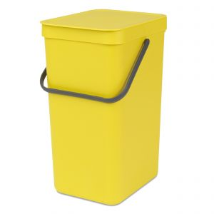 Brabantia Sort & Go Kitchen Recycling Bin - Yellow - 16L Size
