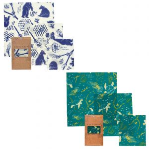 Bee's Wrap Food Covers - 2 x Sets of 3 - Oceans & Bees + Bears Design