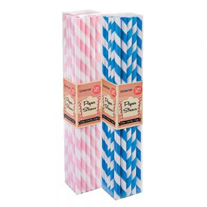 Baby Shower Stripe Paper Straws Pack (50 Straws)