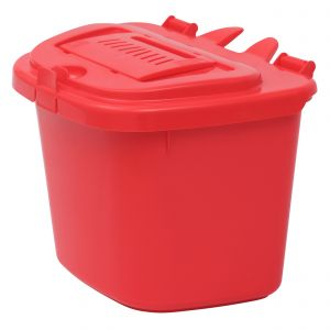 Red 5 Litre Vented Compost Caddy - Food Bin - side view