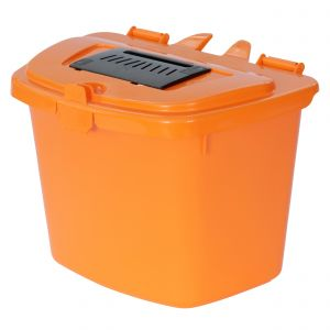 7 Litre Vented Compost Caddy - Orange - Food Bin - side angle