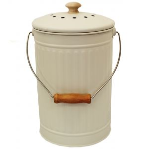 Chalk White 7L Metal Compost Pail
