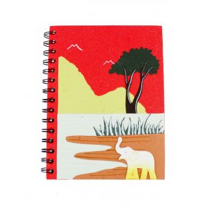 Large Spiral Notebook - Elephant at The Watering Hole Design