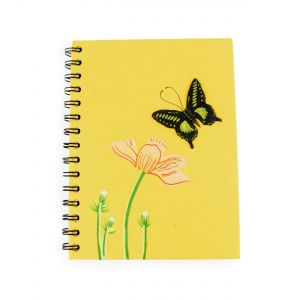 Elecosy: Large Spiral Notebook - Yellow Butterfly Design