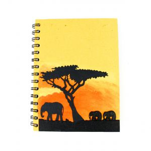 Elecosy: Large Spiral Notebook -Savannah Silhouette