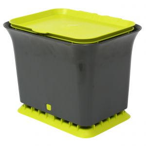 Full Circle Odour-Free Compost Collector / Food Bin 5.7 Litre – Green & Grey - Side Image