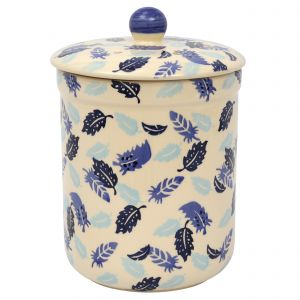 Haselbury Ceramic Compost Caddy / Food Waste Bin - 3L - Blue Feathers Design - Main