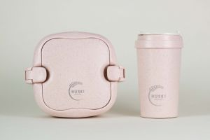 Huski Home - 400ml Travel Cup & Multi-Component Lunch Box - Rose Pink