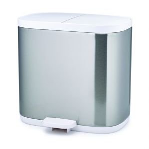 Joseph Joseph Split 6 Steel Waste & Recycling Bathroom/Household Bin - Stainless Steel & White