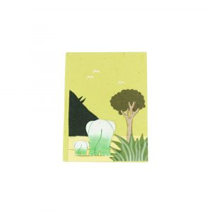 Elecosy Small Notebook - Light Green with Two Elephants Design