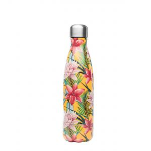 Qwetch Insulated Stainless Steel Bottle - 500ml - Tropical Yellow Flowers