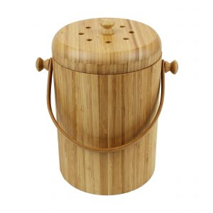 Wooden Bamboo Compost Caddy / Food Waste Bin 4L - Main