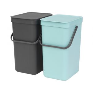 Brabantia Sort & Go Kitchen Recycling Bins Set – 12L – Mint & Grey