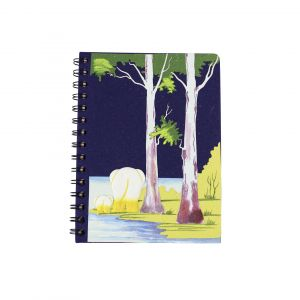 Large Spiral Notebook –  Dark Blue with Two Elephants Design